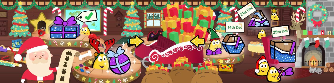 ILLUSTRATION  Christmas cbeebies tv children father christmas game interactive festive winter