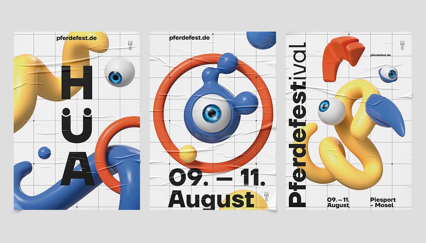 Music Festival loop animation  CGI CI key visual eye horse art festival Event