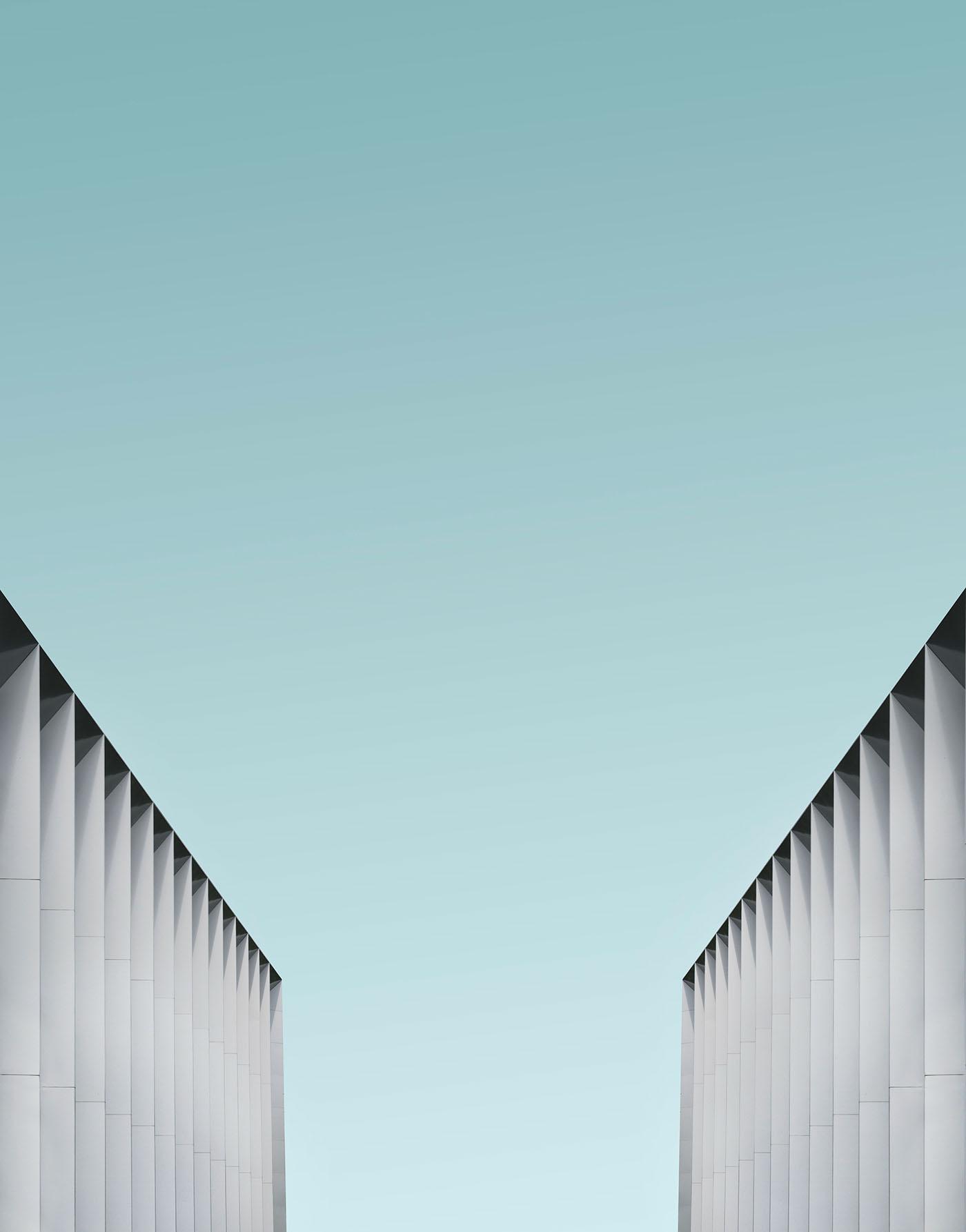 minimal blue geometric SKY building Minimalism geometry Urban architecture London