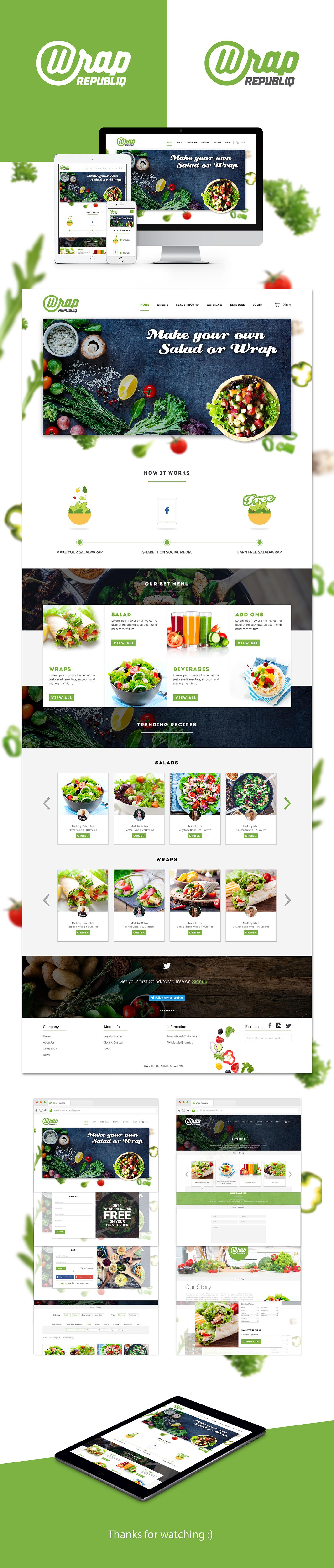 salad food wrap online order healthy vegetables Ecommerce Wrap Republiq Food  delivery customised delicious Logo Design