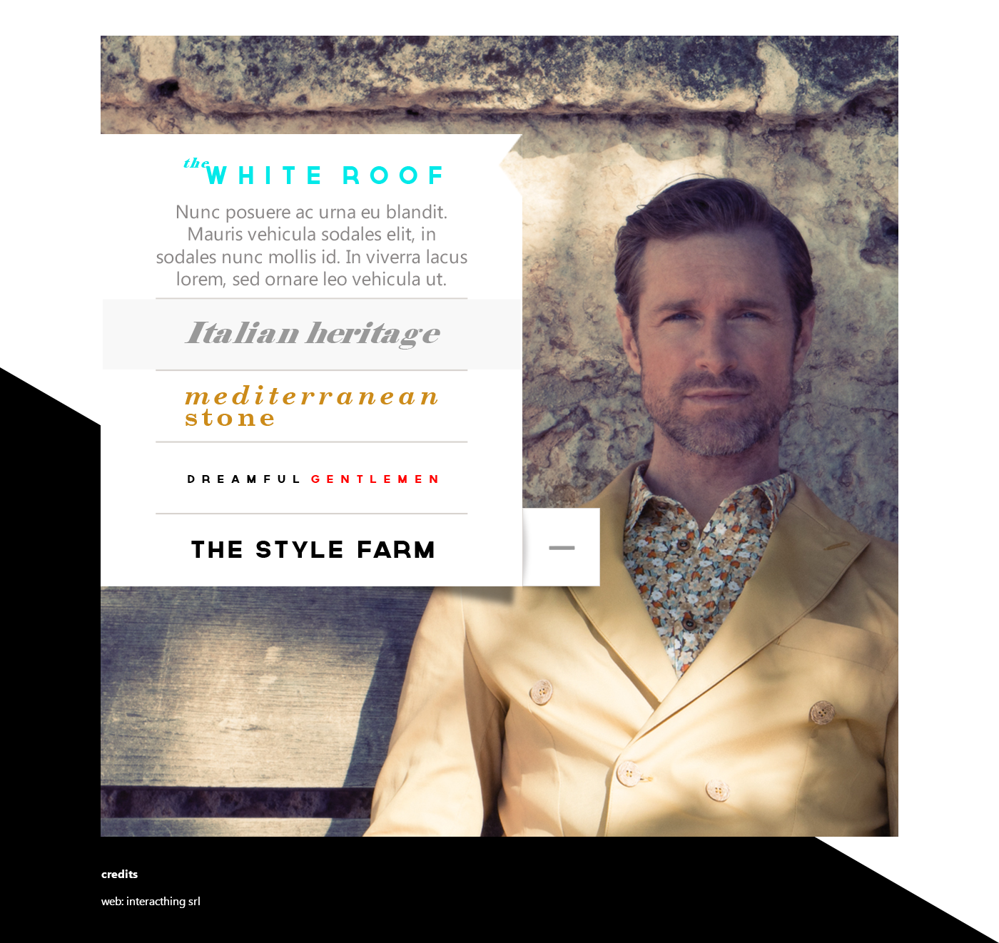Website clothing boutique made in italy Neill Katter the white roof italian heritage dreamful gentlemen kids mediterranean stone Layout clothes vestiti Abbigliamento