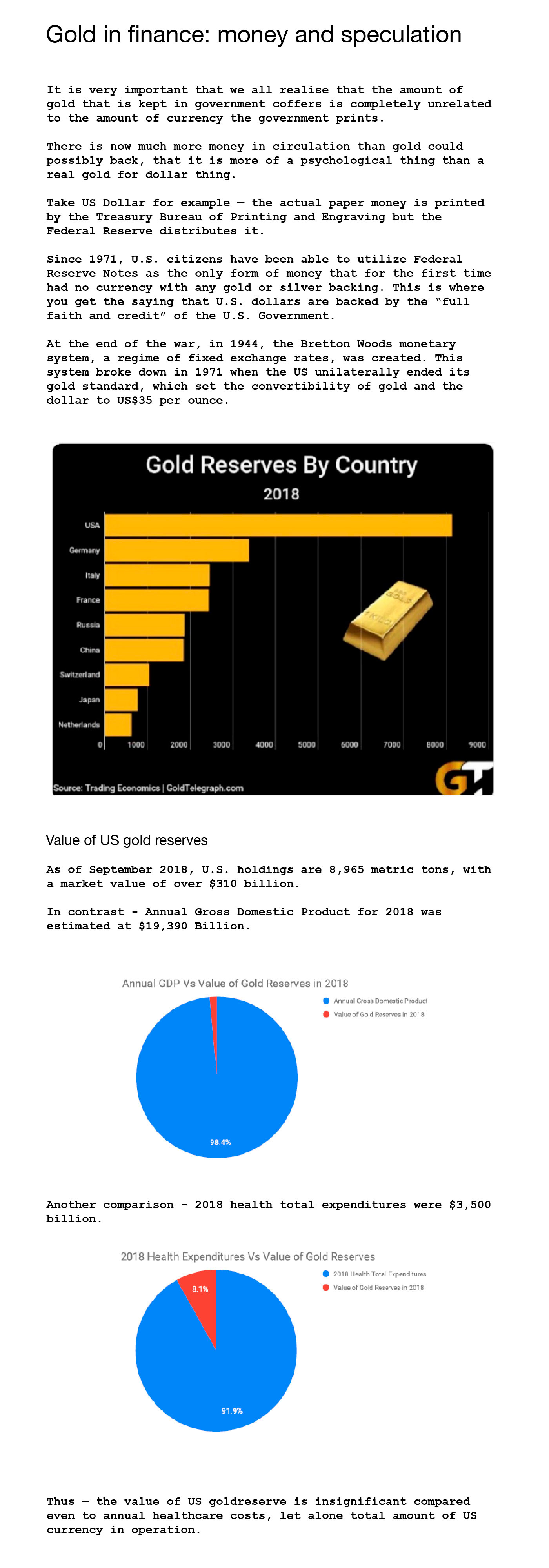 Gold in finance: money and speculation