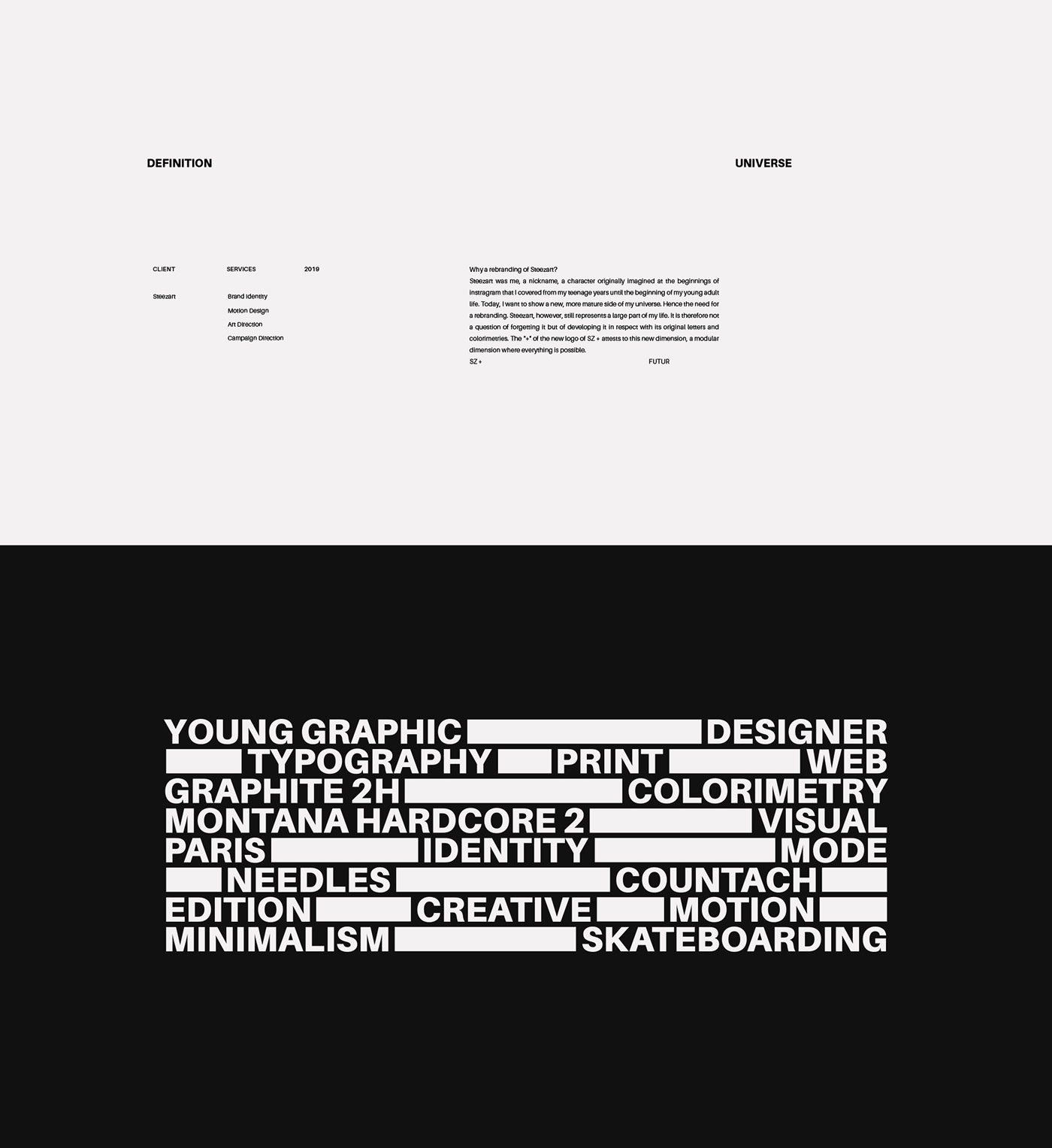 branding  CV personal identity logo monogram rebranding ad campaign minimalist