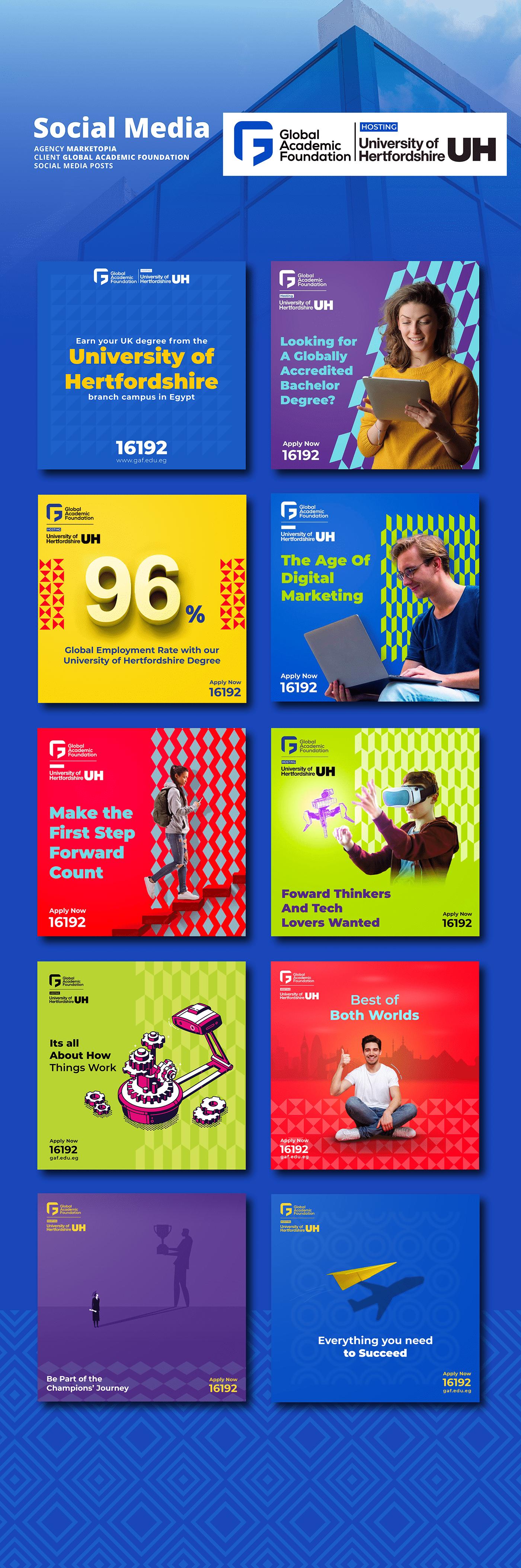 colourful brand content calendar egypt Facebook Posts social media Social Media Designs University