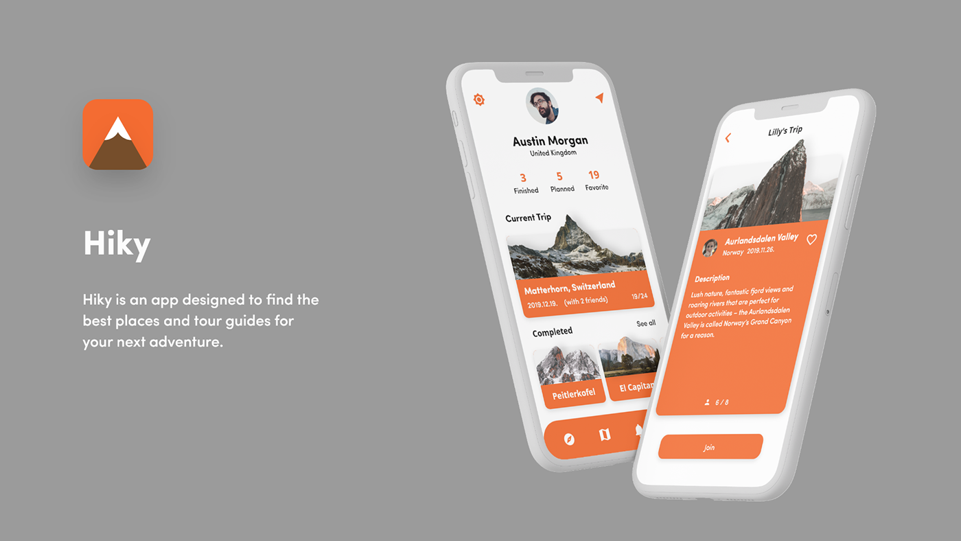 Hike hiking app tour UI ux Webdesign explore design