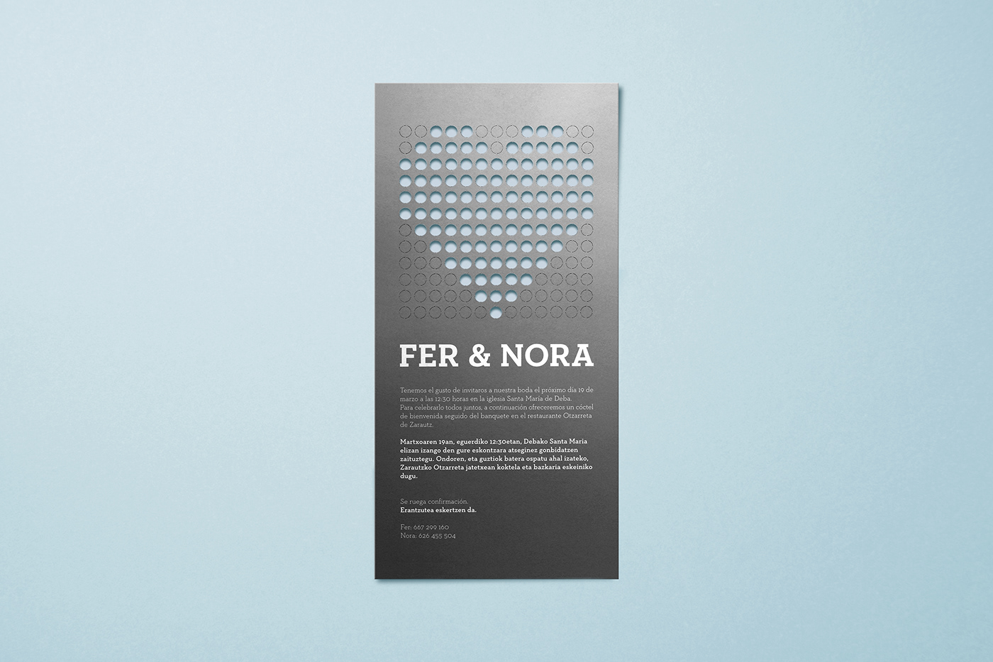 wedding invitation Wedding Card wedding Microperforated confetti pattern Silver ink basque country spain