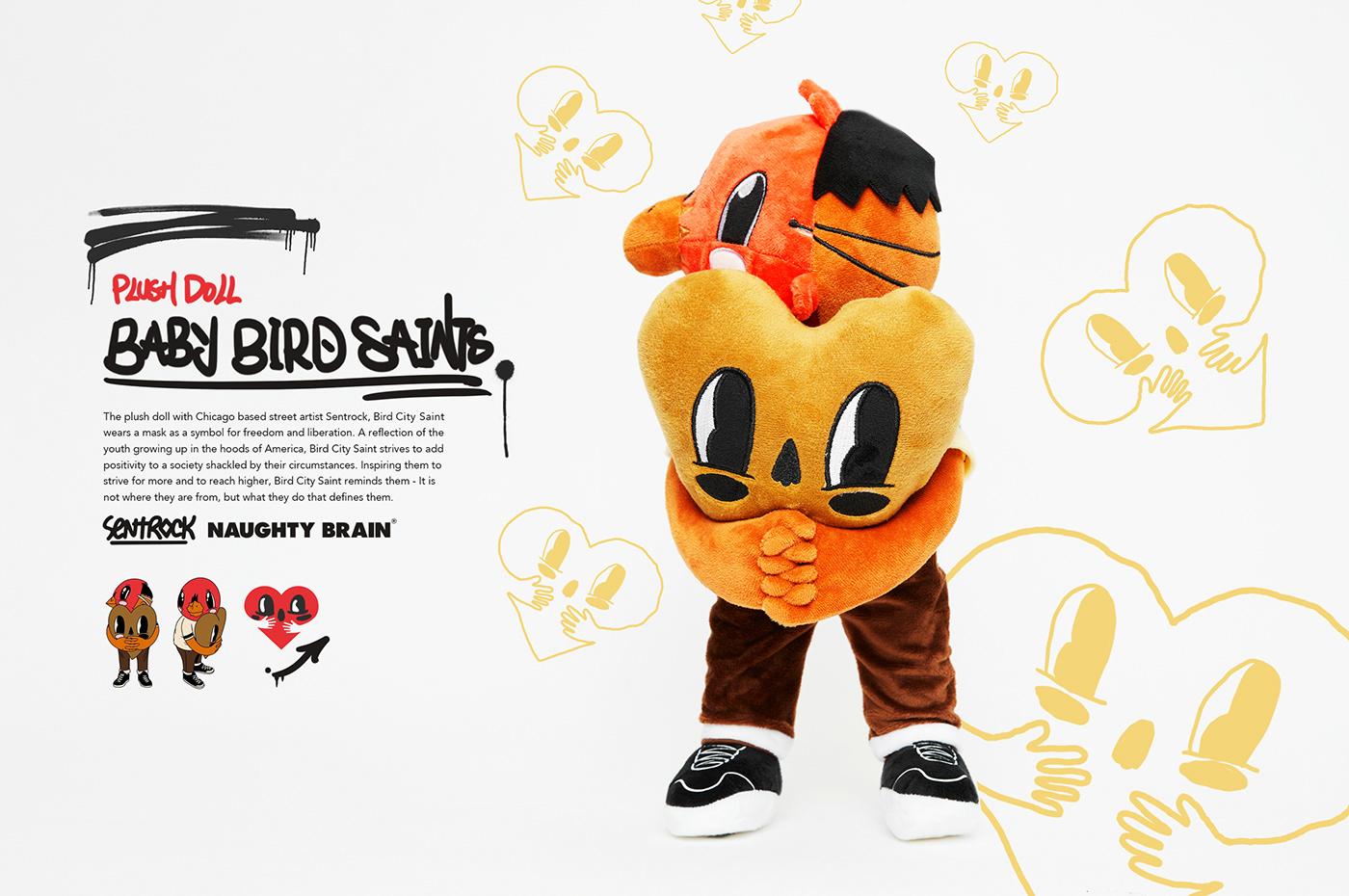 artfigure arttoy babybird birdman CURIOUSBOY designertoy naughtybrain plushdoll toydesign toymaker