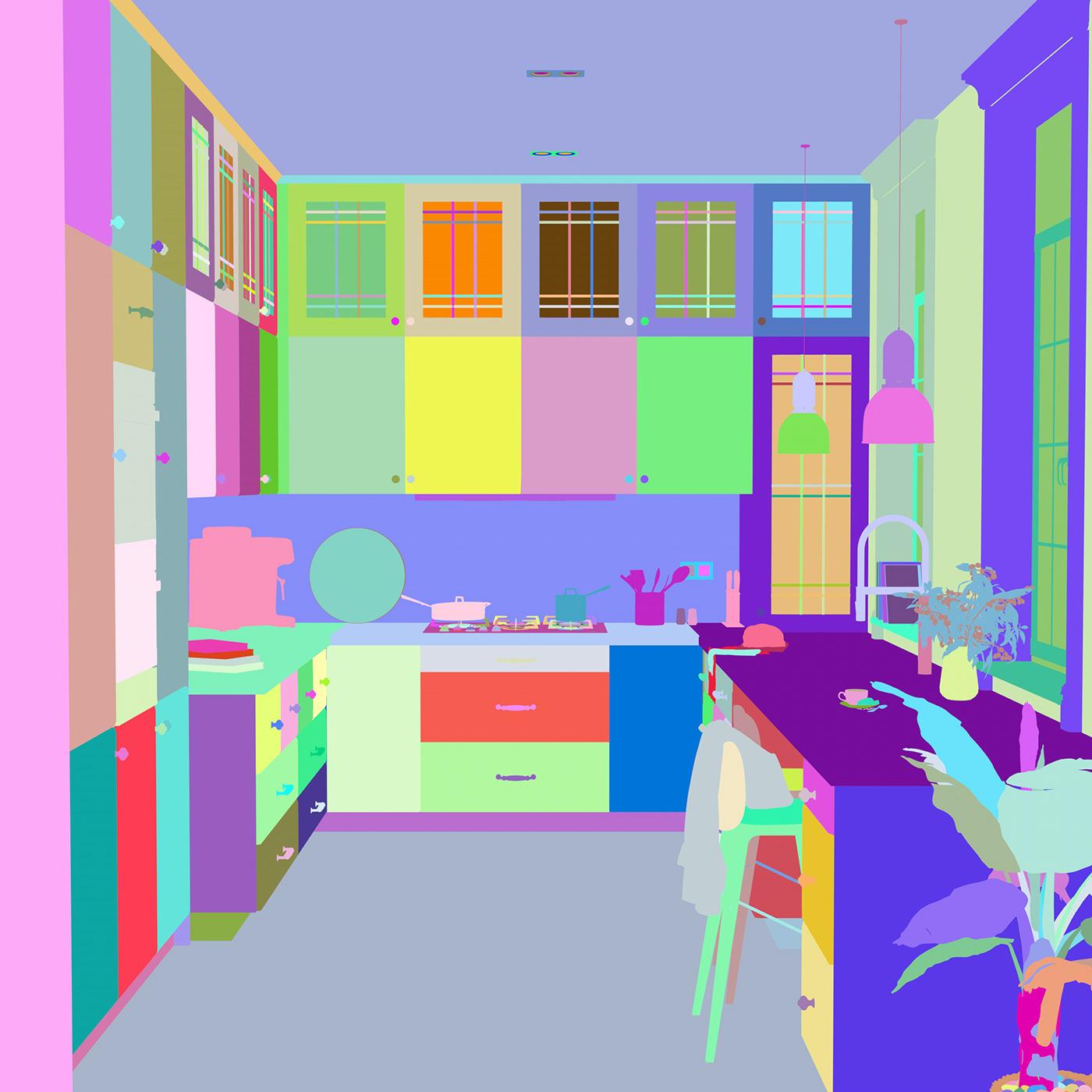 3D cinema4d cocina corona diseño infografia Interiorismo kitchen Render White