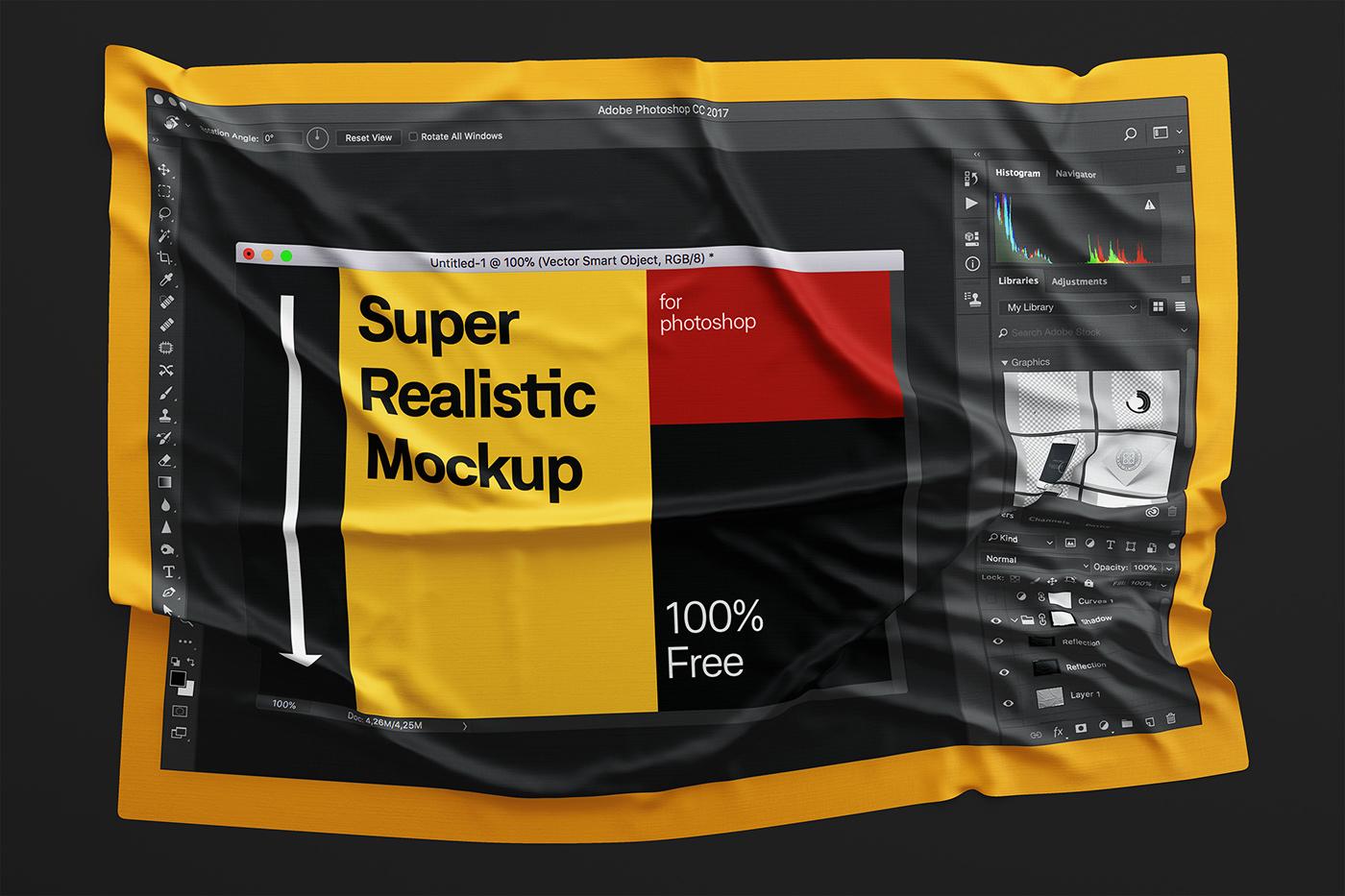 Wrinkles mockup free Mockup fabric mockup cloth mockup flag download freebie mock-up Dress Mockup