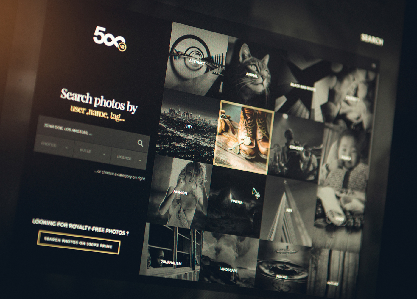 500px redesign concept approach on Behance