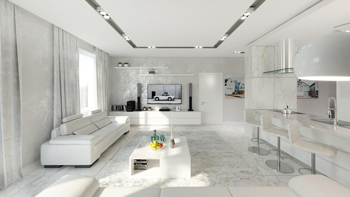 design Minimalism Interior architecture Render 3D visualization home living room kitchen