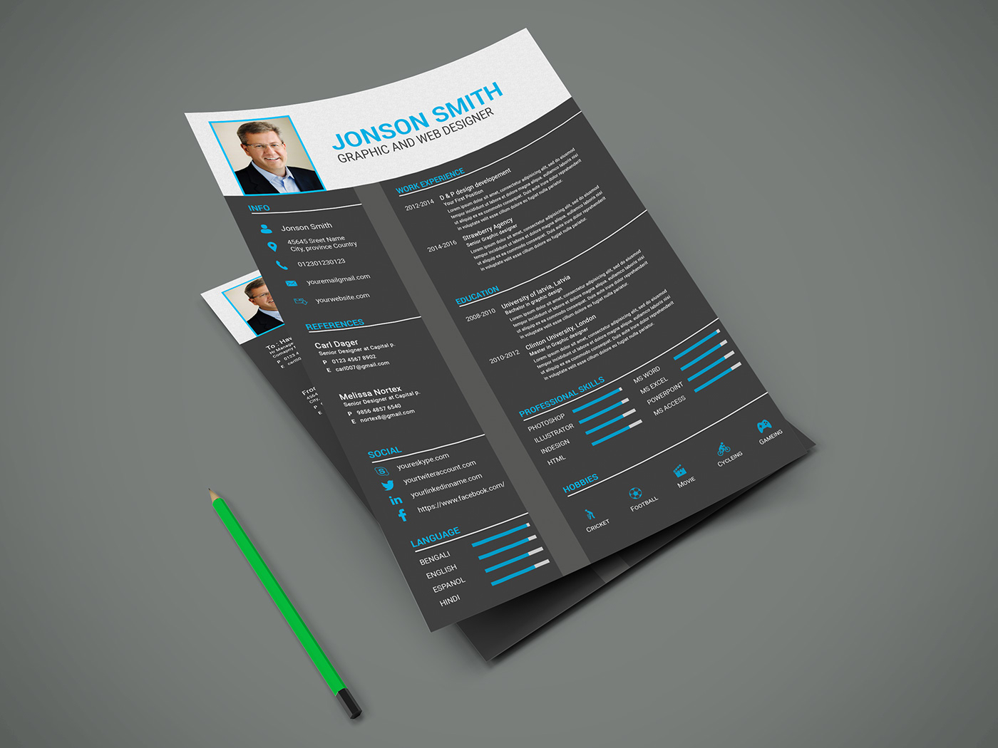 Personal Cv Resume Template Psd Free Download On Behance
