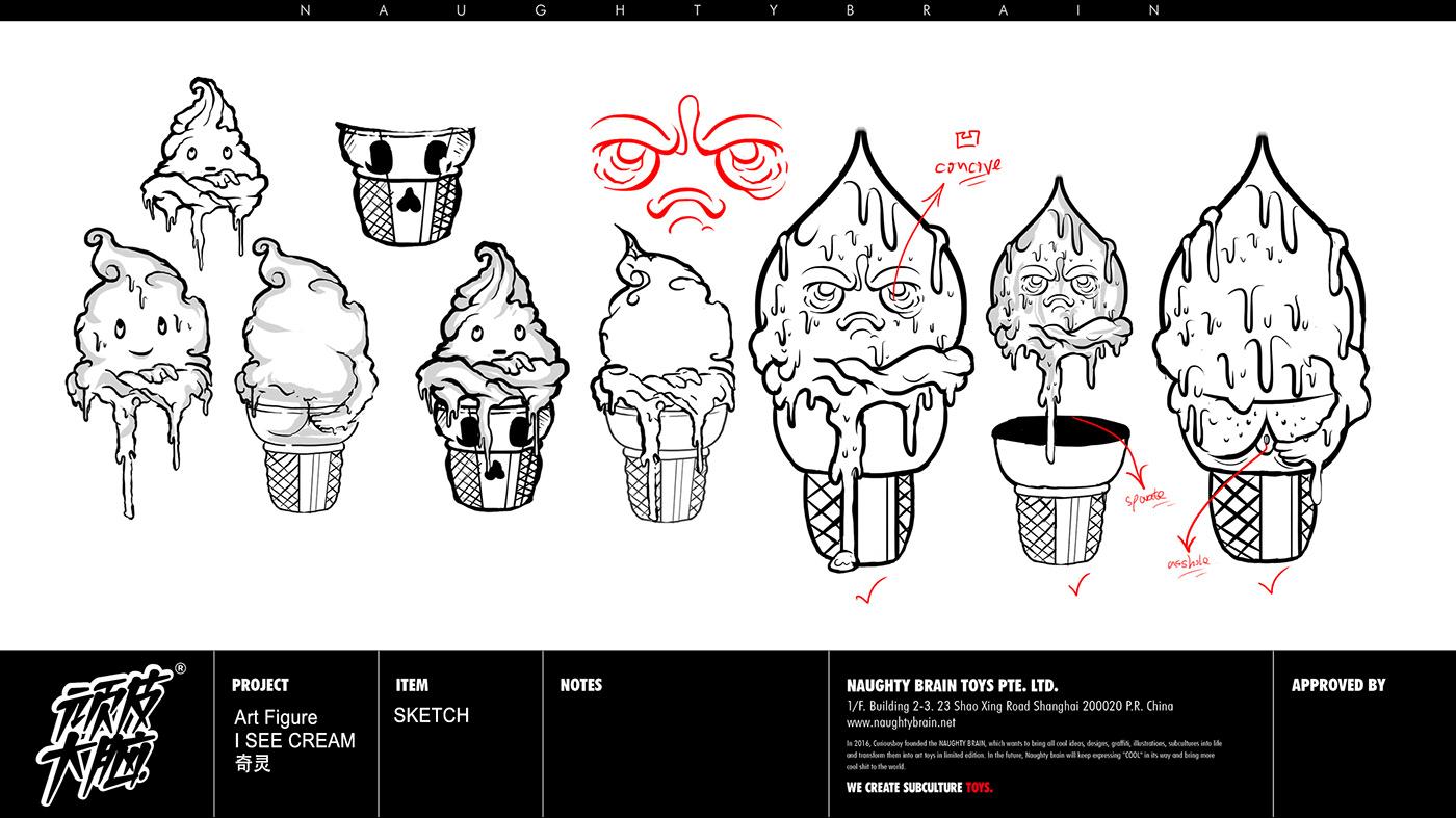3dart artfigure arttoy CURIOUSBOY designertoy icecream naughtybrain nft toydesign 中文字体