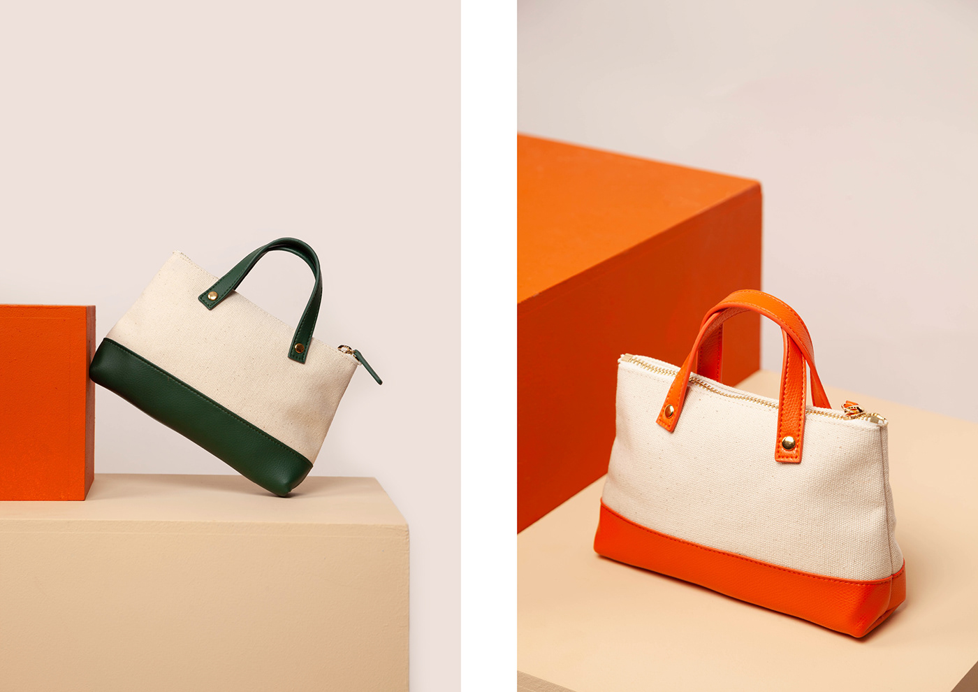 Image may contain: handbag, luggage and bags and orange
