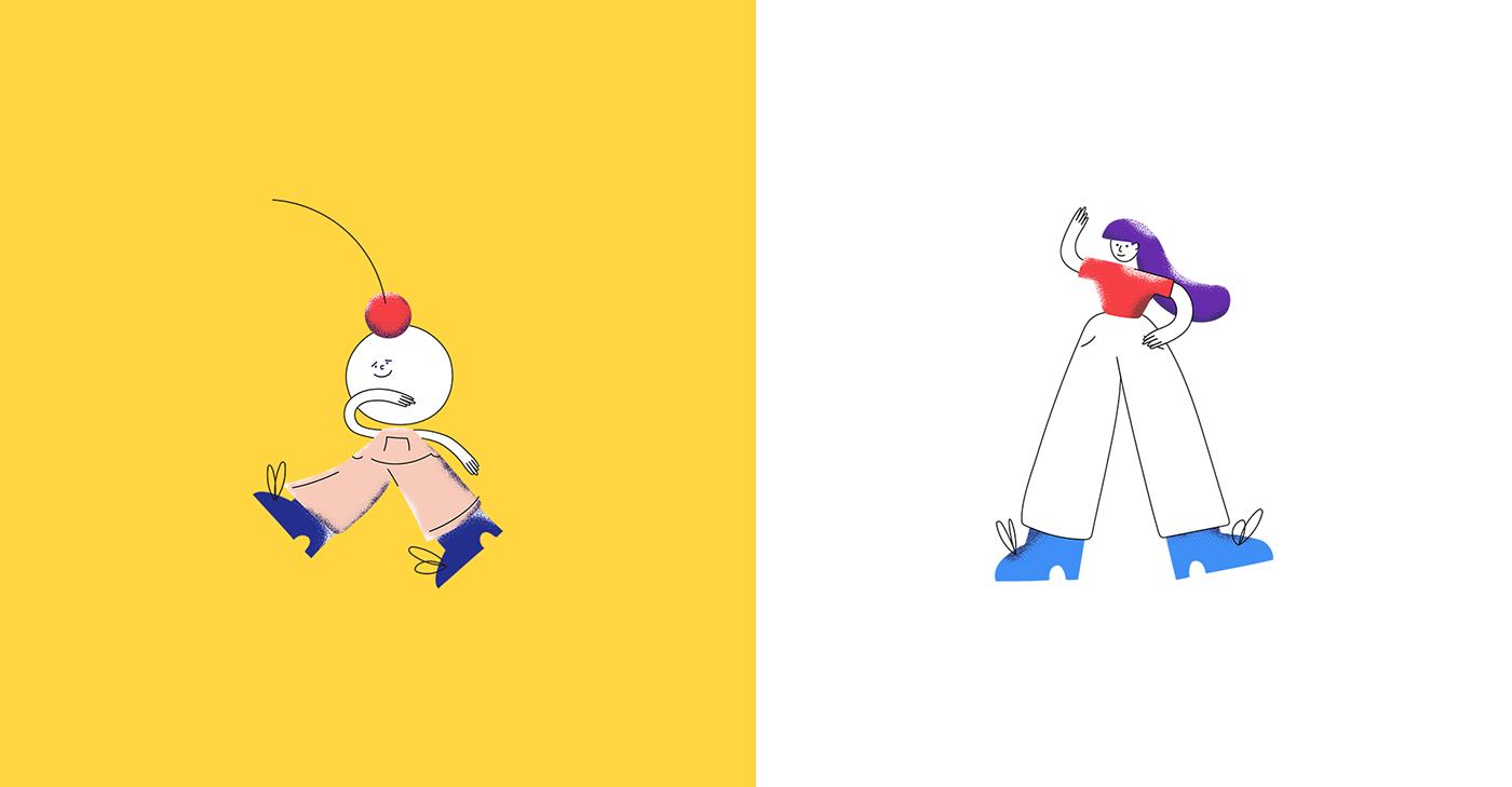 ILLUSTRATION  design Character bright people vector digitalart Web texture colors