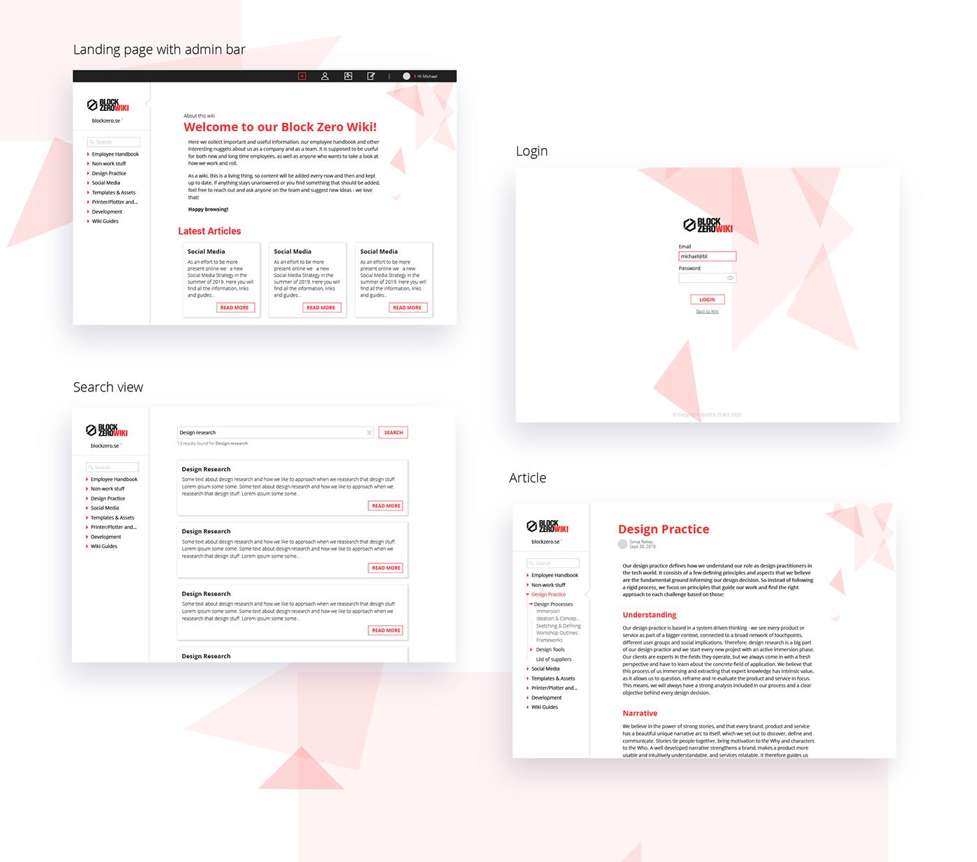 minimalistic Responsive simple UI ux wiki