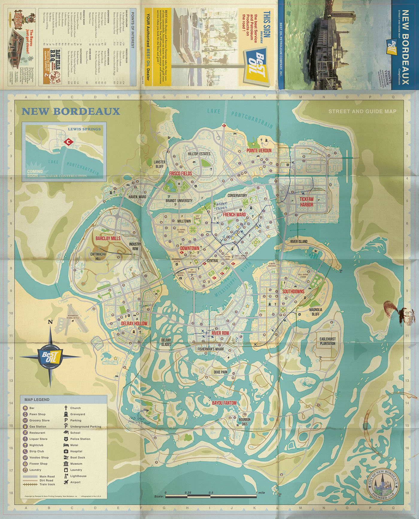 Mafia iii world map on behance semi final world map design for mafia iii exact layouts and folds were based on established print templates for xbox one ps4 and pc box sizes gumiabroncs Images