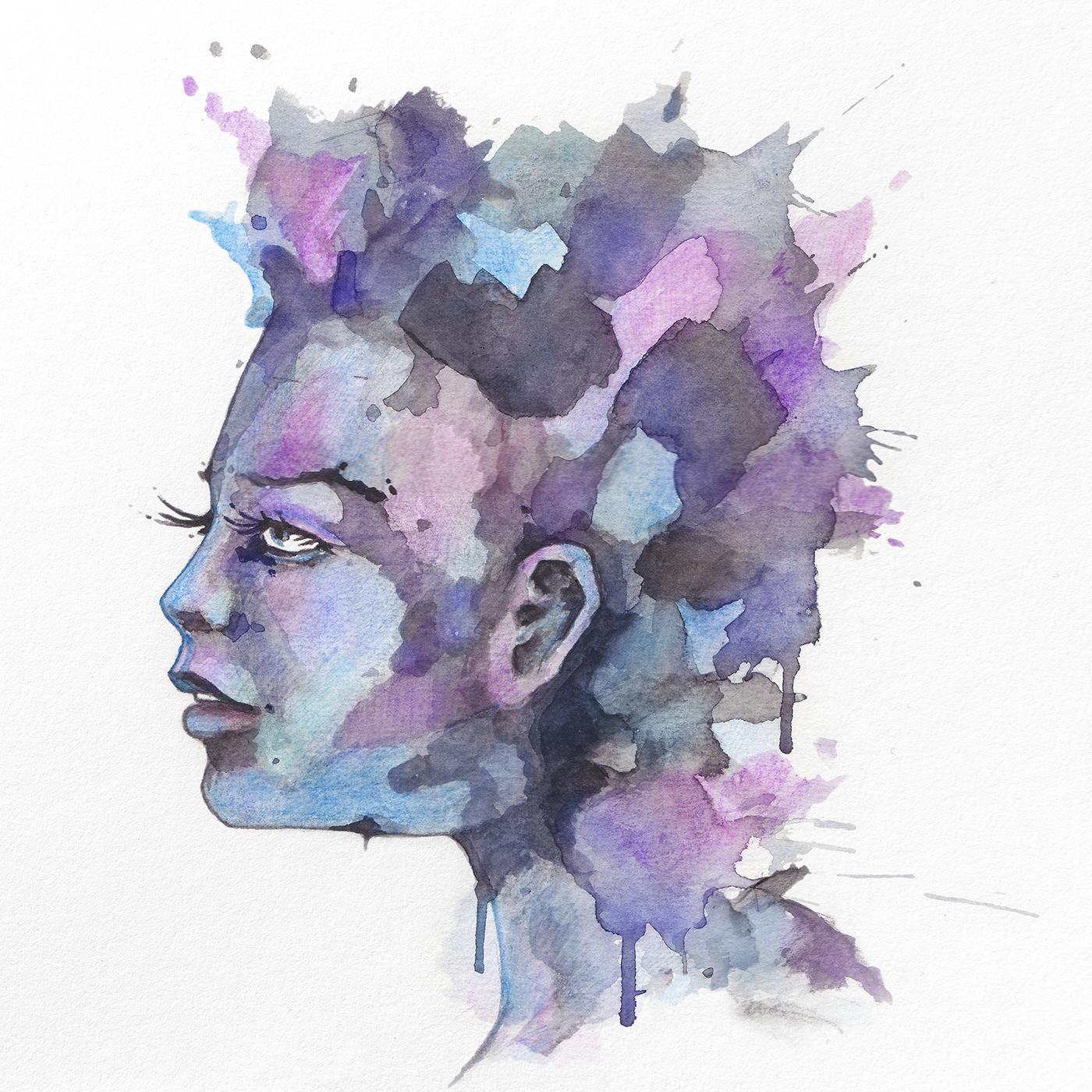 faces portraits vibrant watercolor woman artwork female beauty ILLUSTRATION