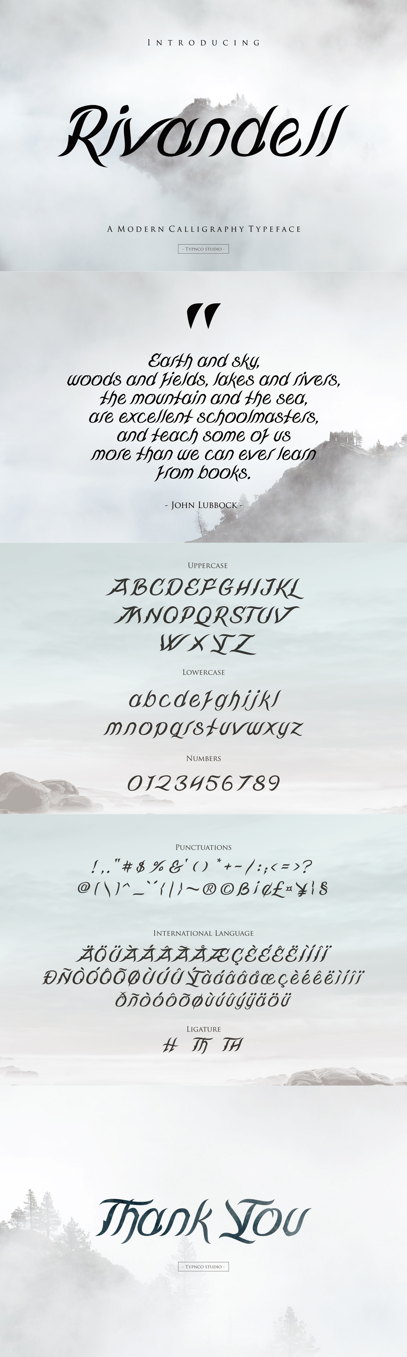 It is a cursive typeface inspired by royal handwriting and fiction readings by Typnco Studio.