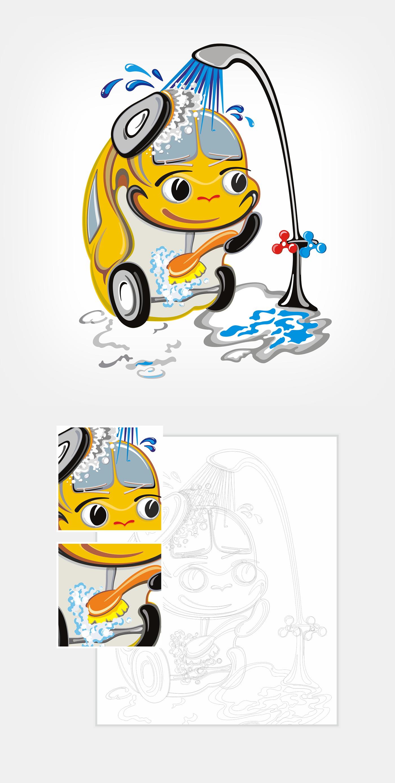 vector ILLUSTRATION  Character Mascot cartoon Carwash graphicdesign car soap Outdoor