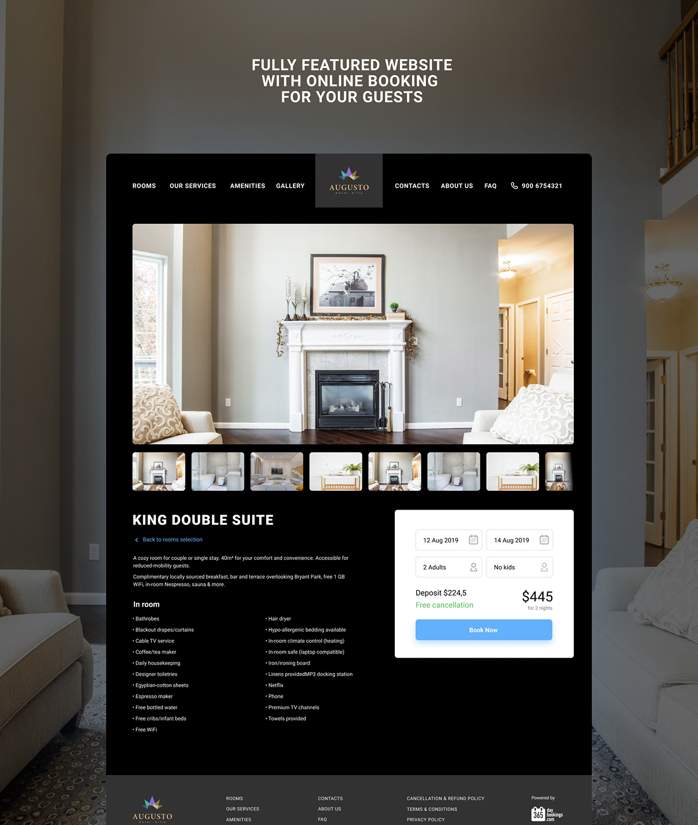Fully featured hotel website with online booking