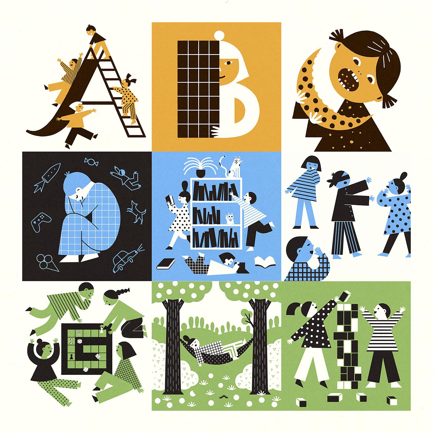 Picture book alphabet For Kids children ILLUSTRATION  Retro typography   oldschool vintage kids