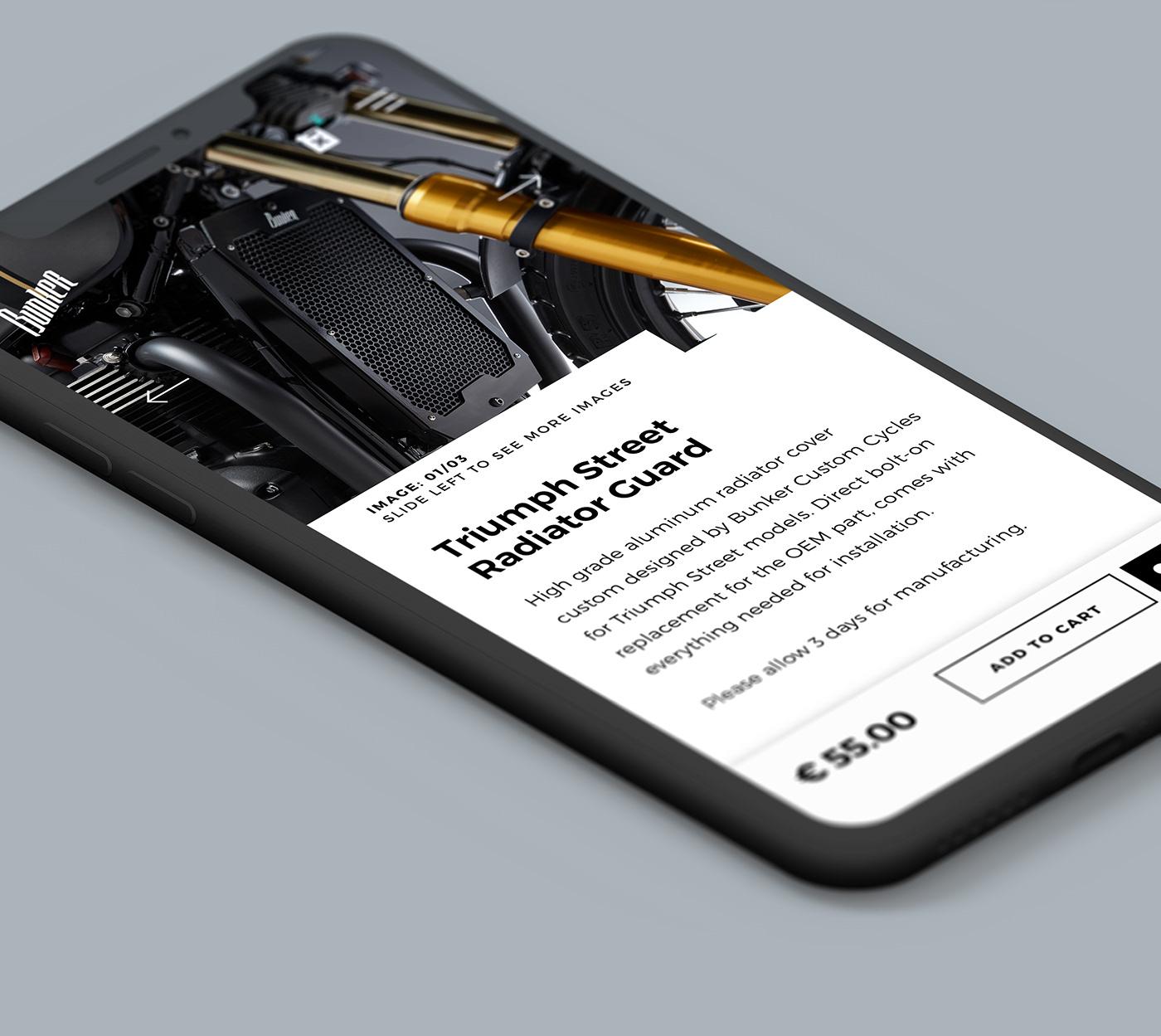 motorcycle Bike Custom caferacer Racing UI ux art direction  concept design