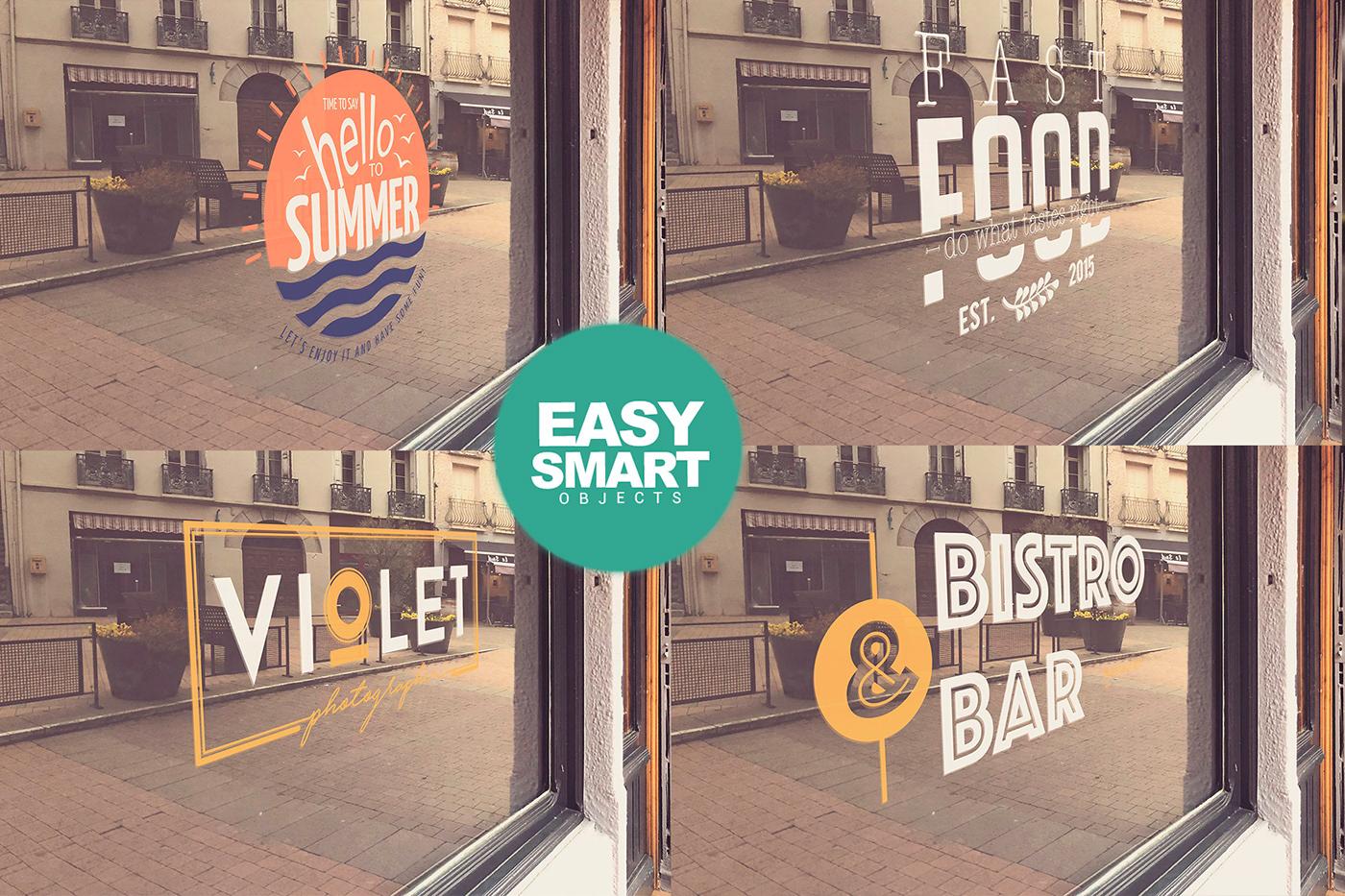 bundle glass logo Mockup mockups offer Outdoor sale Street windows
