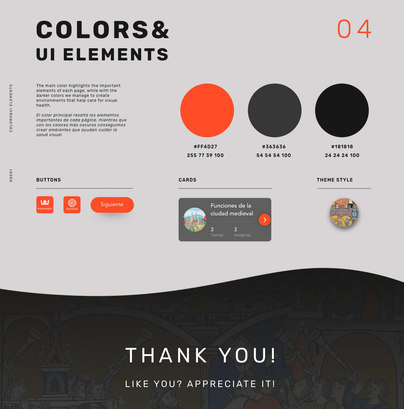 These are the colors and elements of the user interface that we have created.