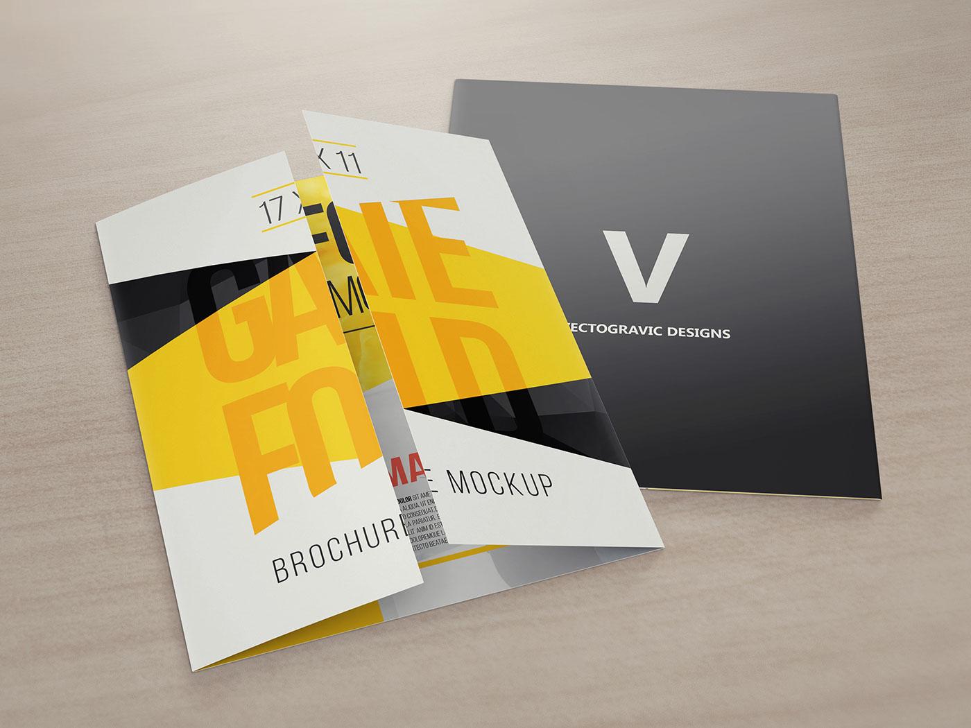 17 x 11 gate fold brochure mockup on behance