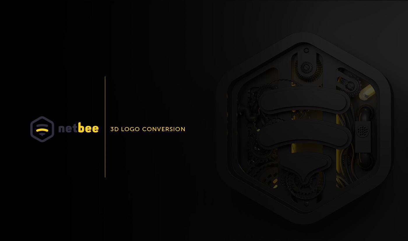 logo 3D 3d logo 3d design honey 3D Type