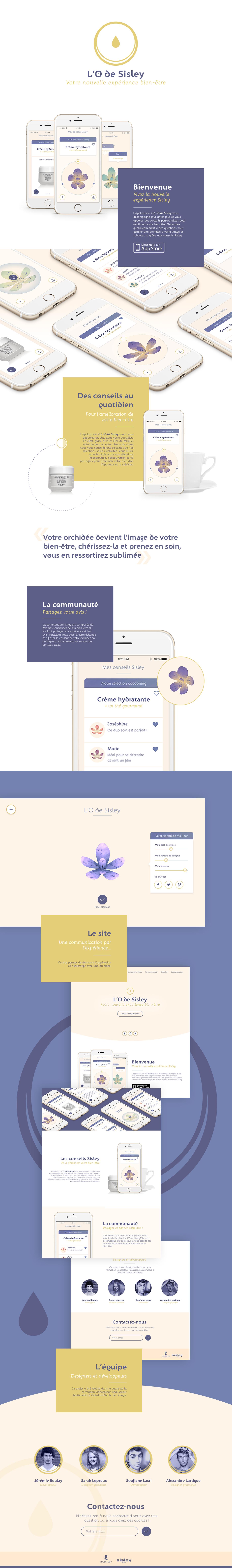 application fleur Experience mobile Web interactif Evolutif soin esthétique beauté cosmetique pastel