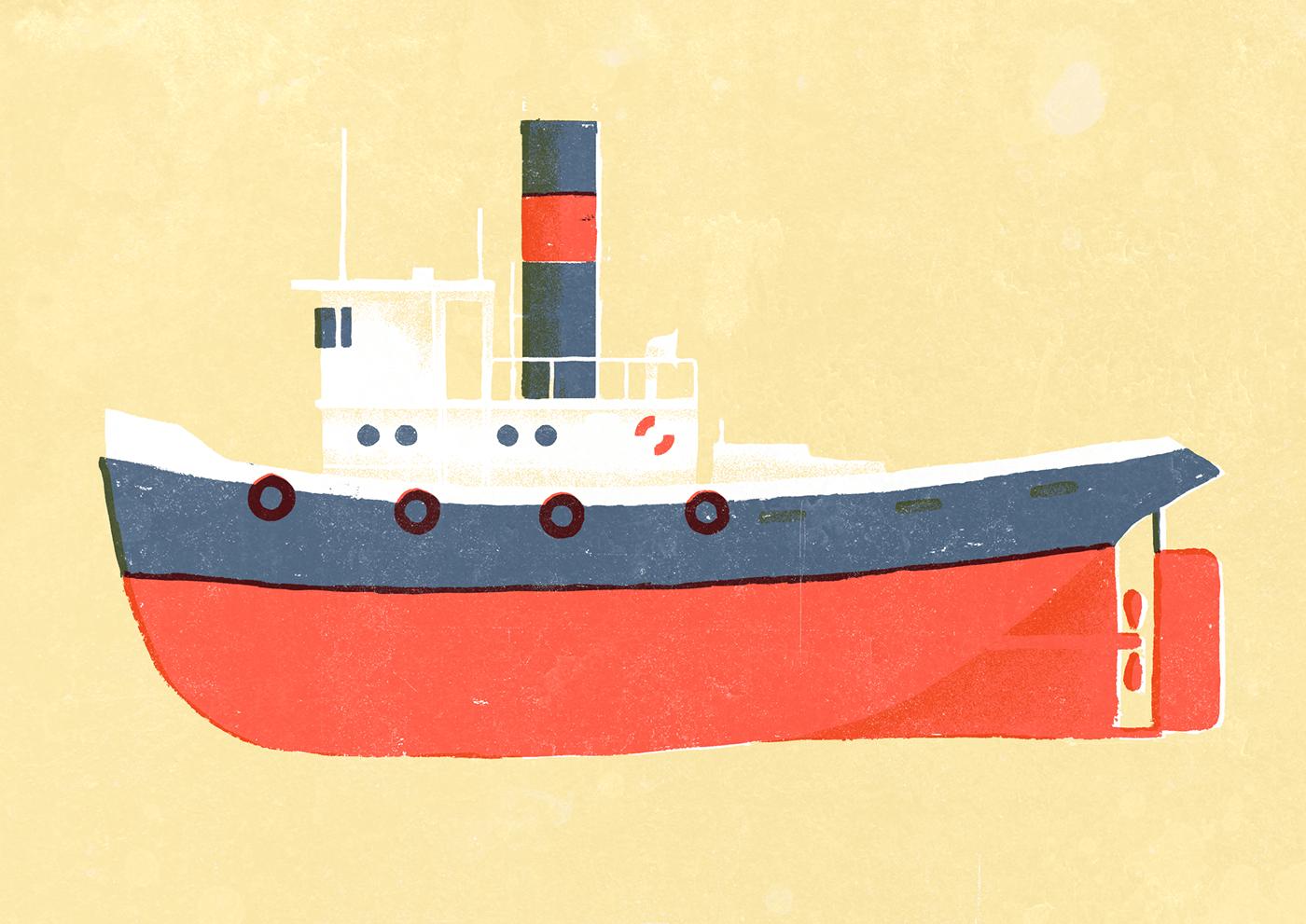 3-tone boat risograph screenprint ship vintage