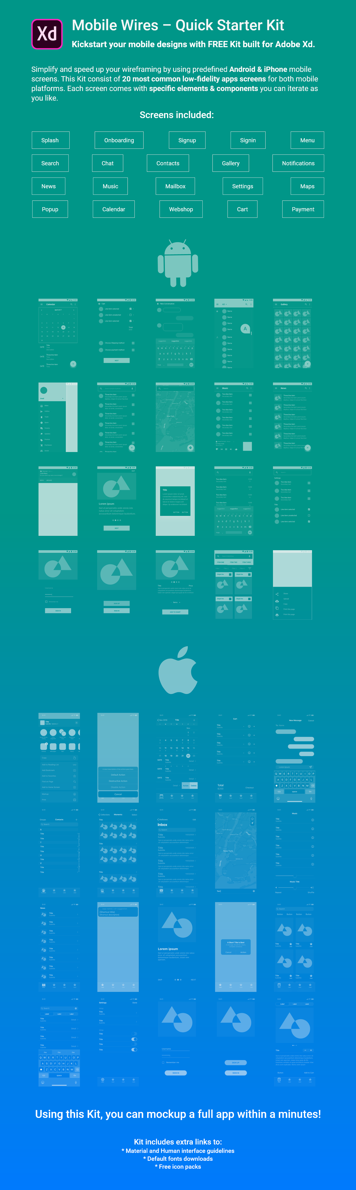 Mobile Wires - Free Xd wireframing Kit for mobile apps