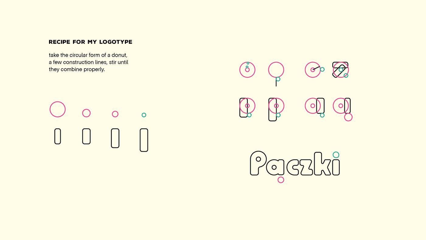 logo brand visual identity design paczki Logotype 70s brand identity donut