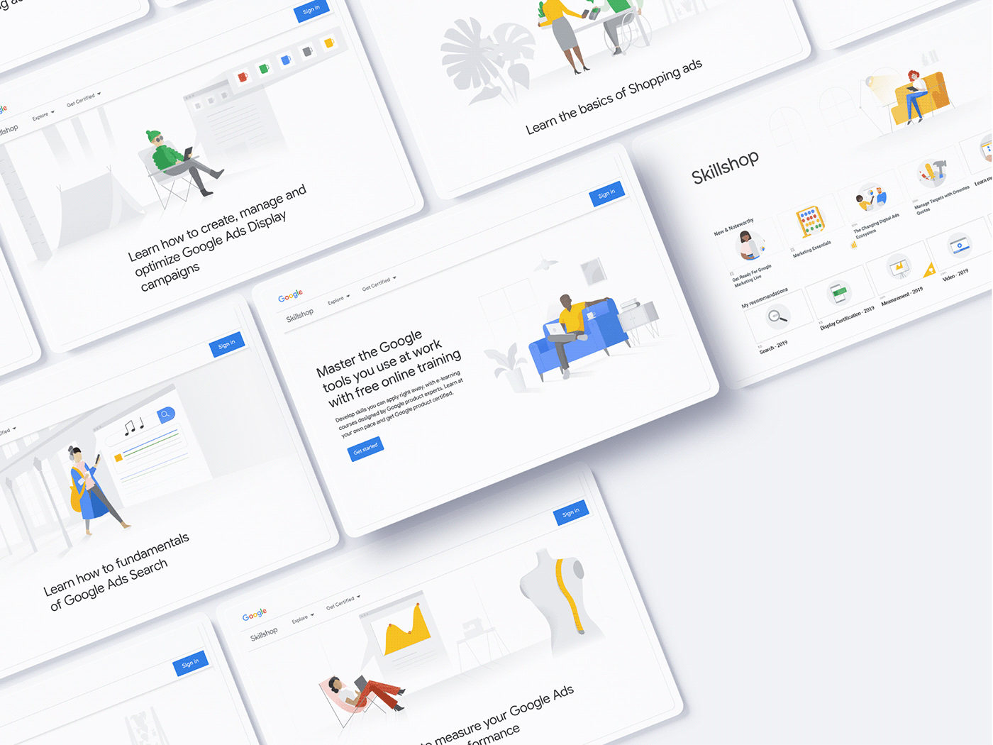 Character design  corporate google guidelines iconography ILLUSTRATION  marketing   Skillshop styleguide tech