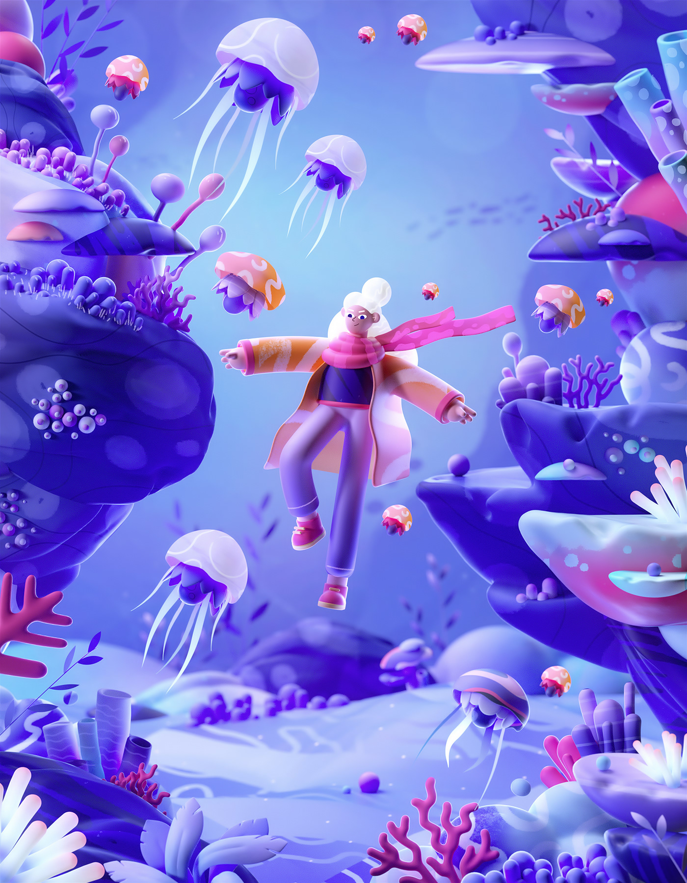 2D 3D abstract art colors design ILLUSTRATION  dark Space