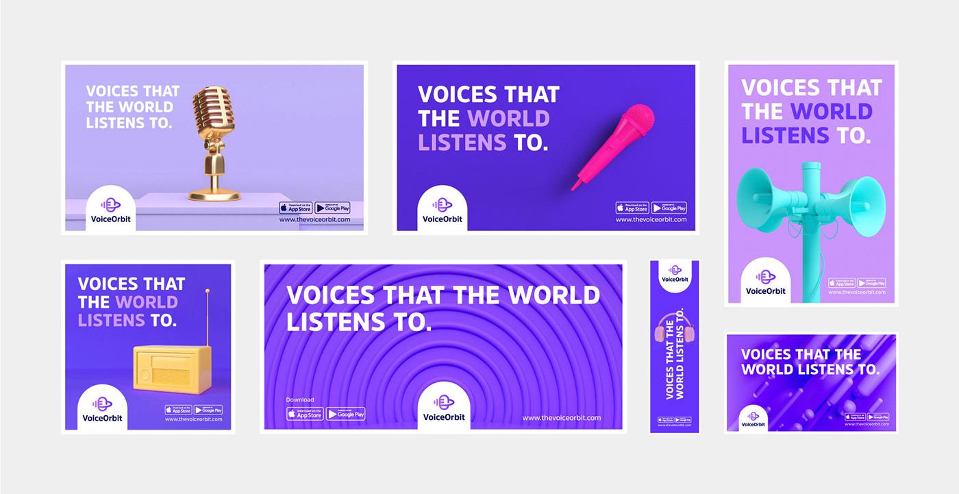 Voice Orbit logo design corporate branding  brand identity Voice Over voice