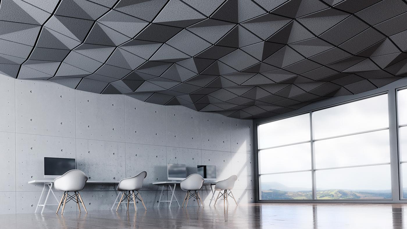 acoustic pattern Interior arch viz ceiling tile design industrial design  interior design  Space  environment
