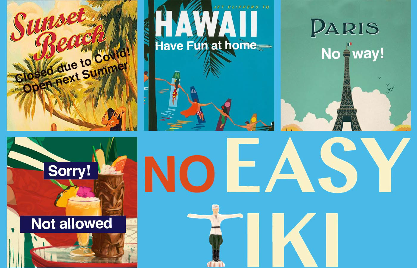 colagem collage corona COVID-19 editorial illutration future HAWAII tourism tourist Travel