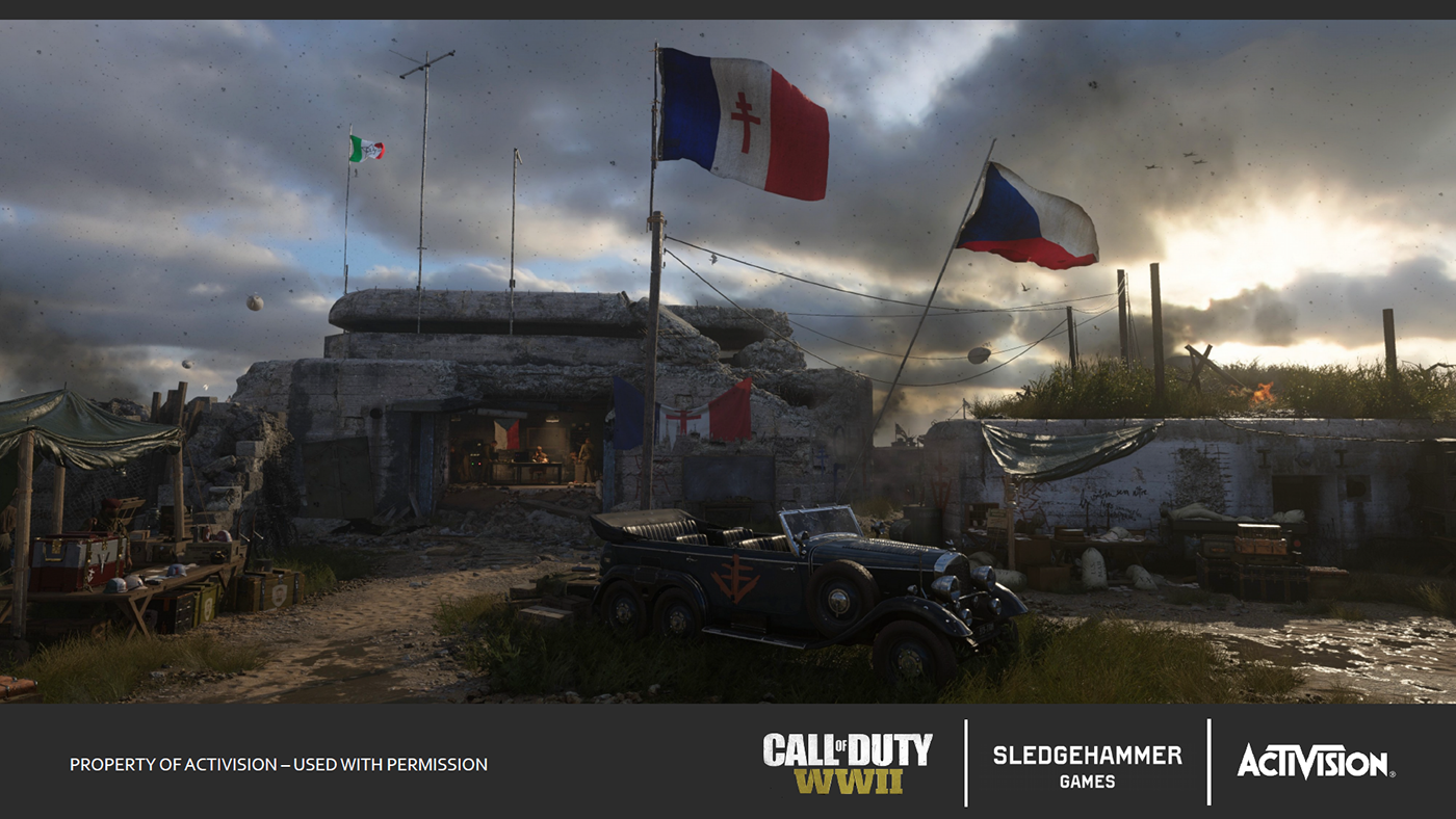 call Duty WWII ww2 Headquarters resistance Level design map