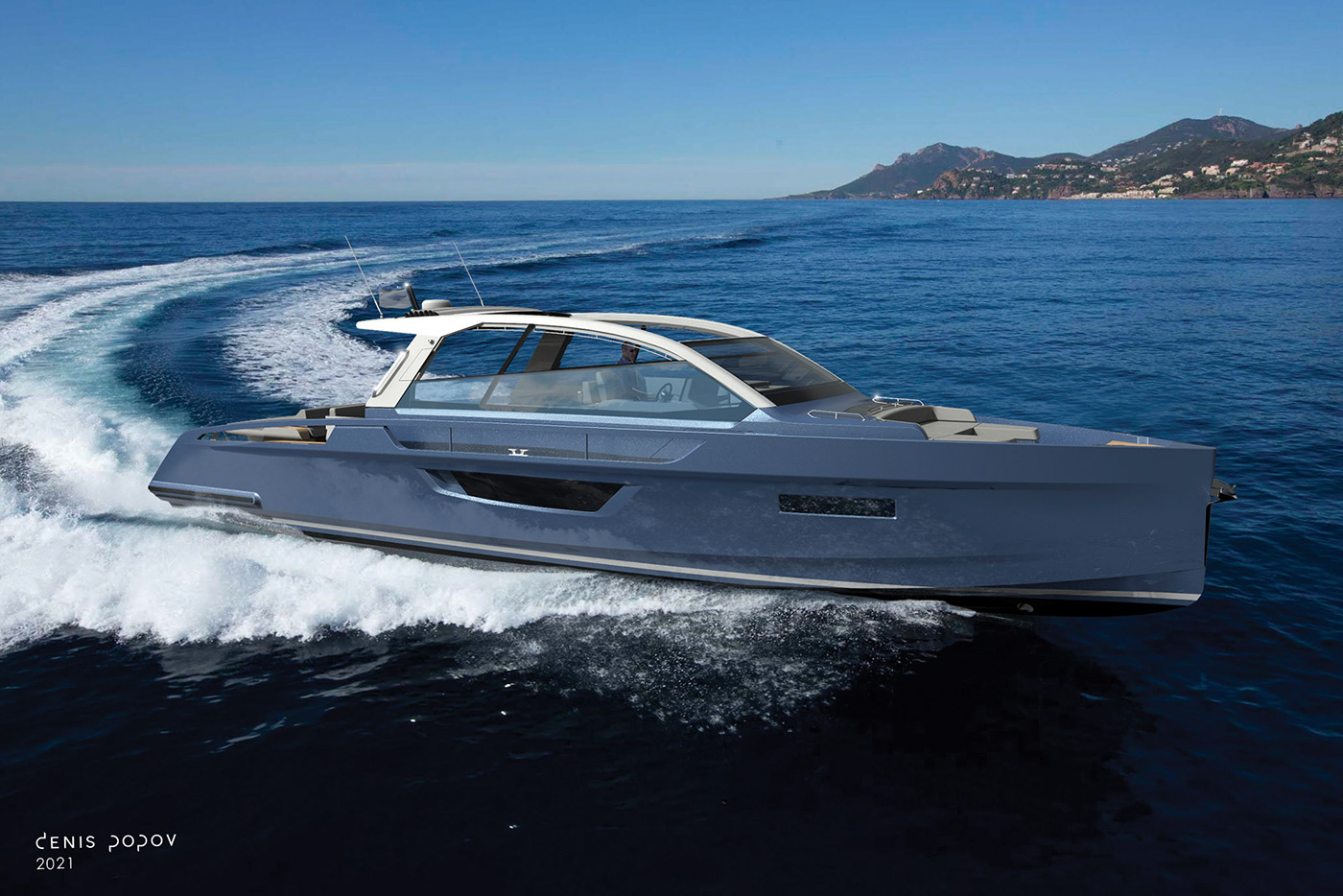 Exterior concept of SIALIA 57 for Silent Straits, and electric prototype for a 800kW system.