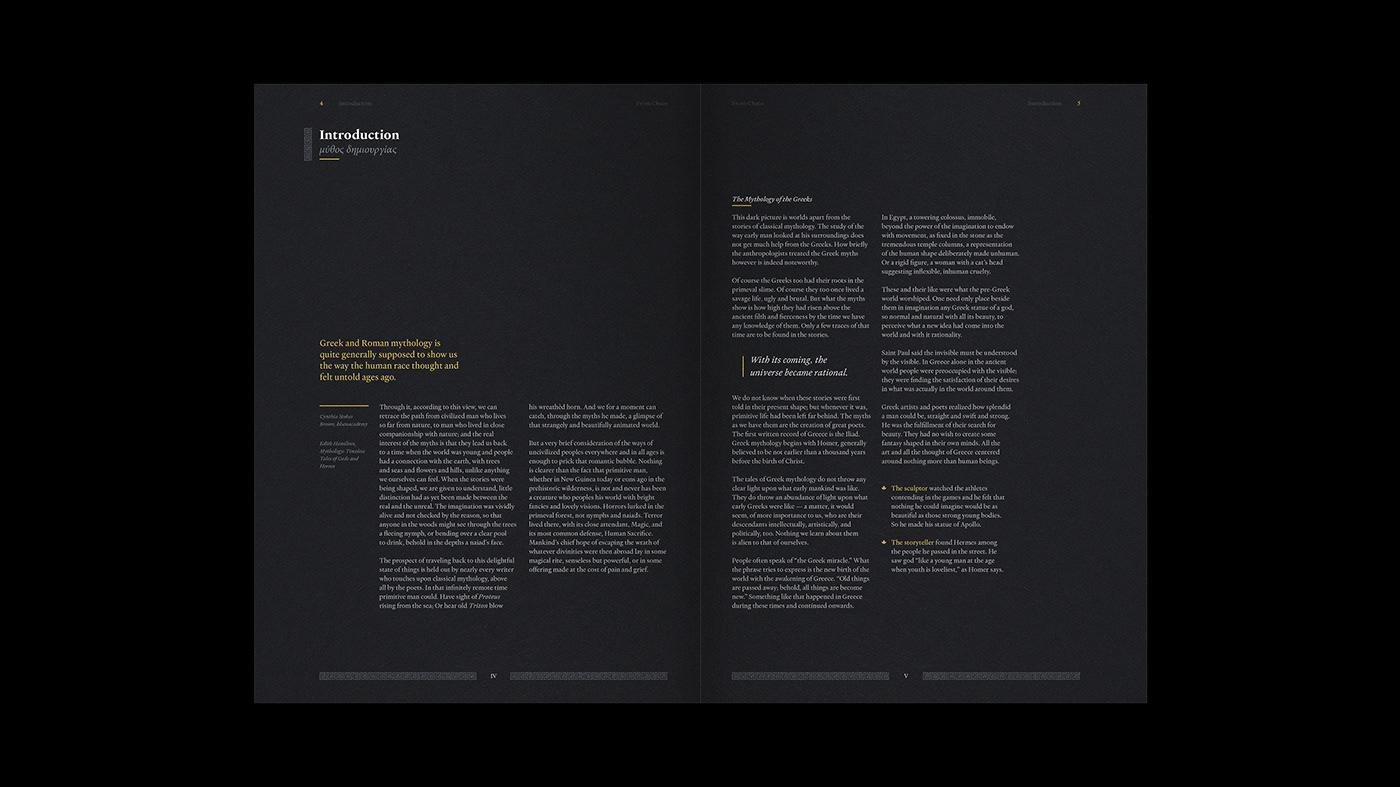 book editorial editorial layout istd mythology print design  publication typography   myth type