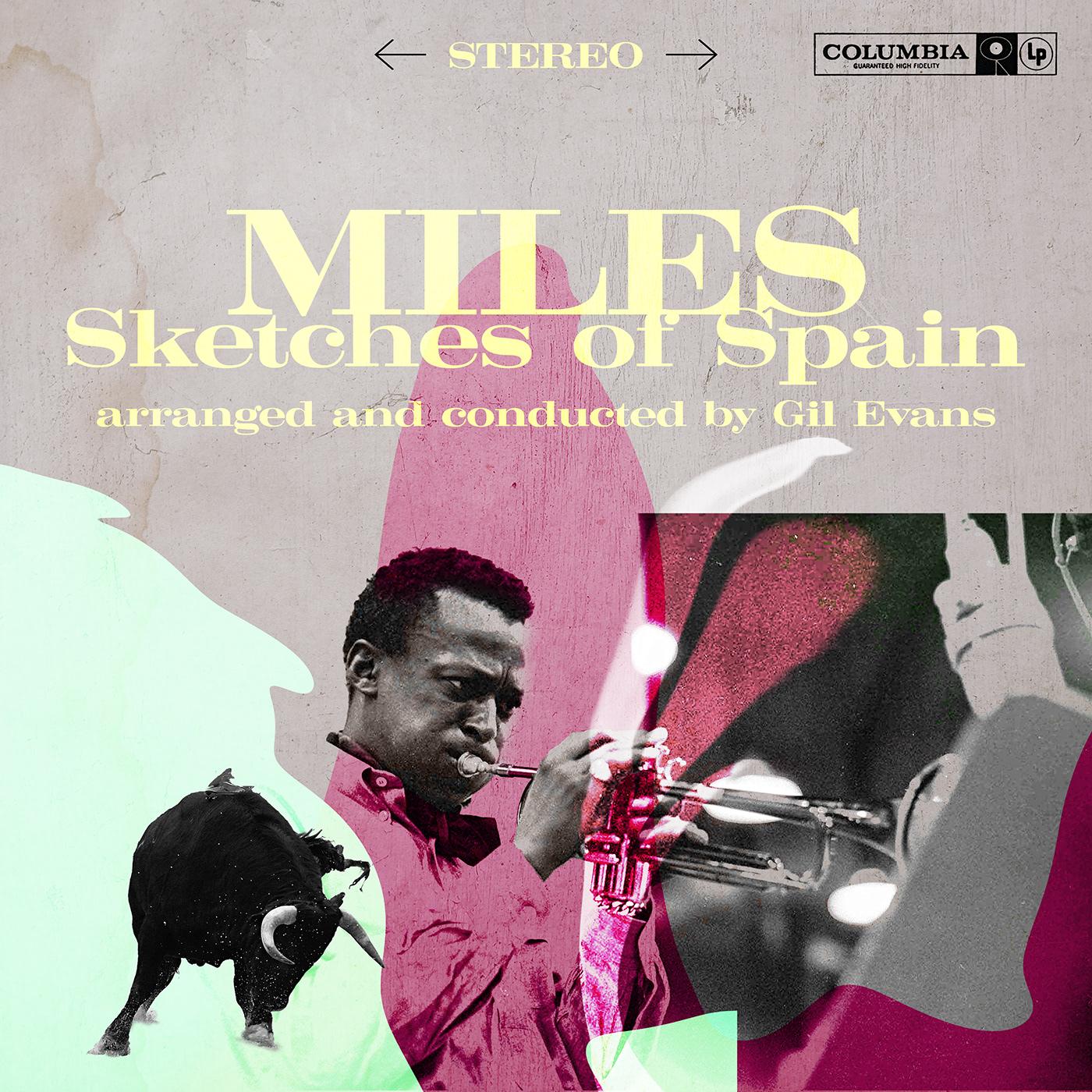 black colors cover fresh graphic design  jazz Miles Davis new photo sketches