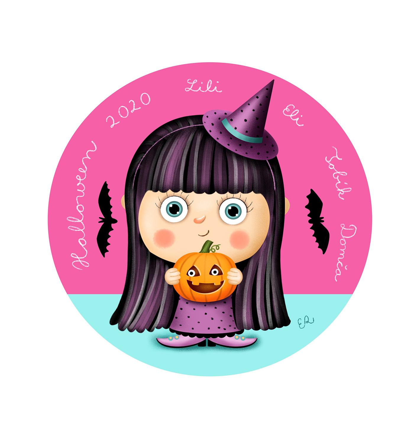 baby children Halloween kids witch