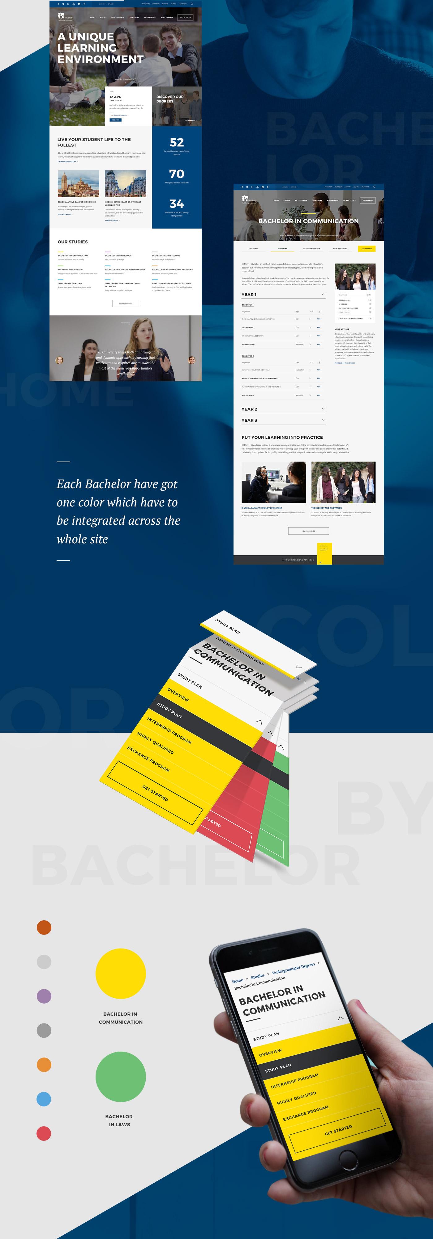 Adobe Portfolio IE University flat ux UI Responsive campus college studies blue faculty Experience