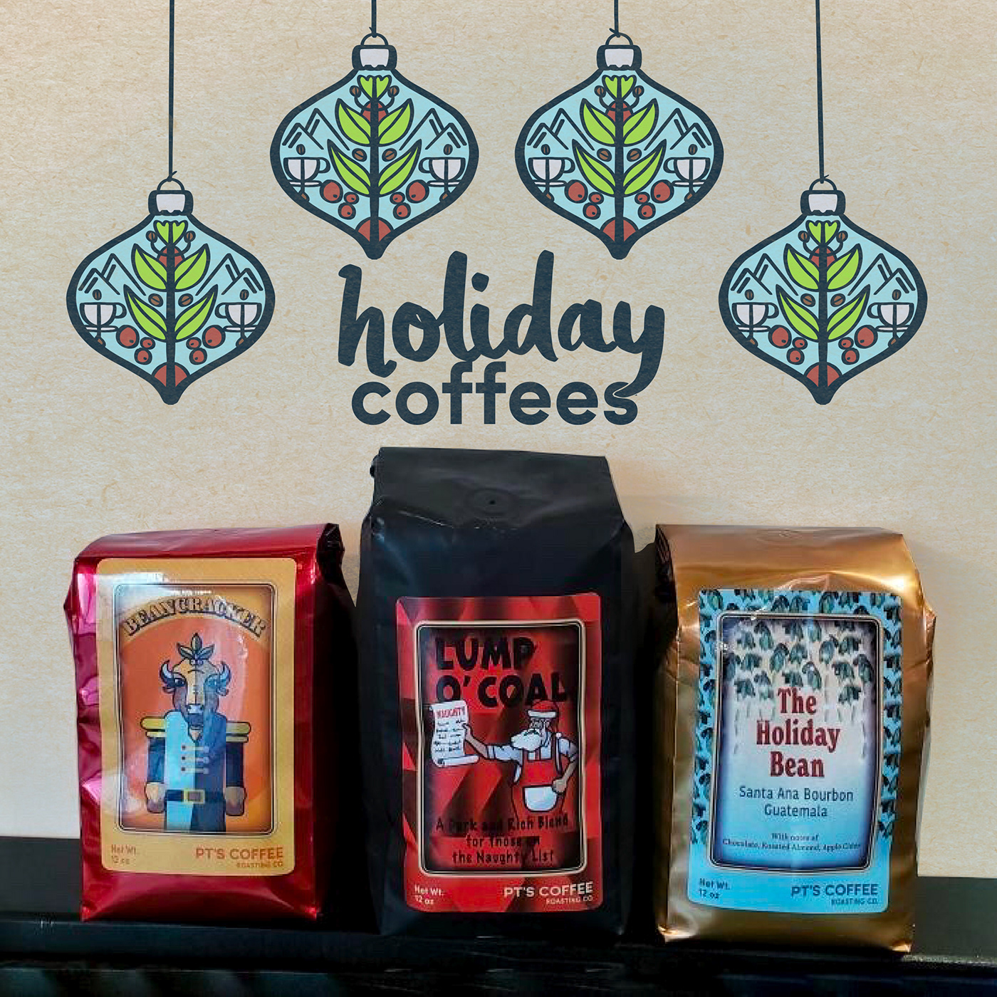 Coffee folk art Holiday holidays lettering ornaments Procreate typography