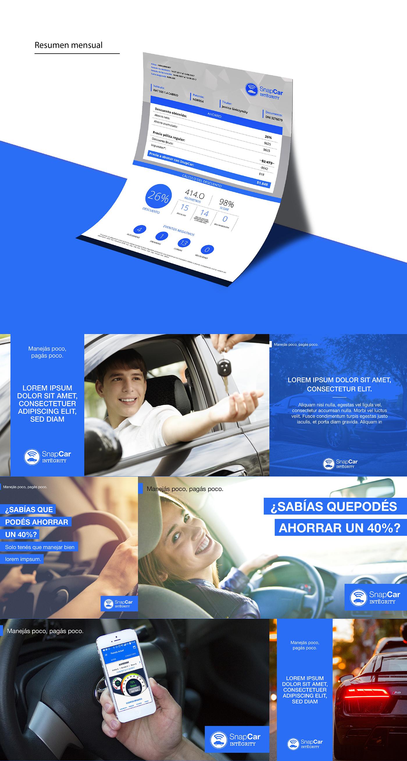 car invoice social media redes Diseo design color blue red