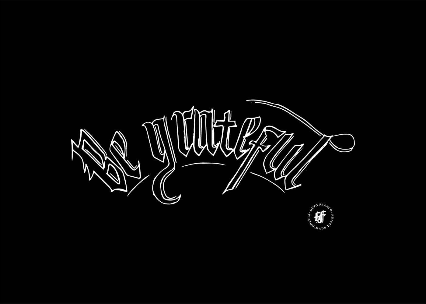 black letter Estampa Fraktur HAND LETTERING lettering rock tipografia