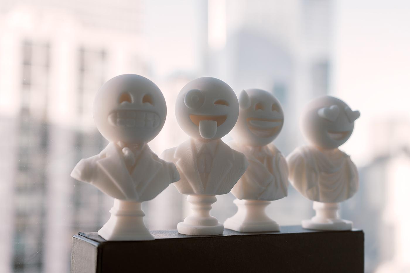 Emoji 3d print 3D Printing sculptmojis art vinyl toy Digital Art  CGI sculpture